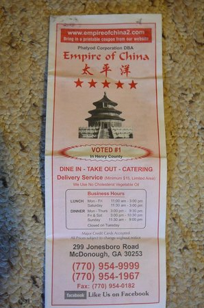 Empire of Chinia: front of menu