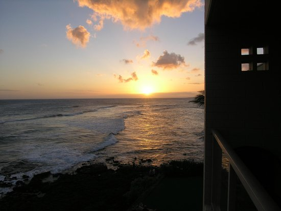 Kuhio Shores Condos:                   Sunset view from #415