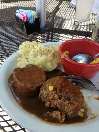 "Fork & Spoon:                   Pounded into ""Meatloaf patties"""