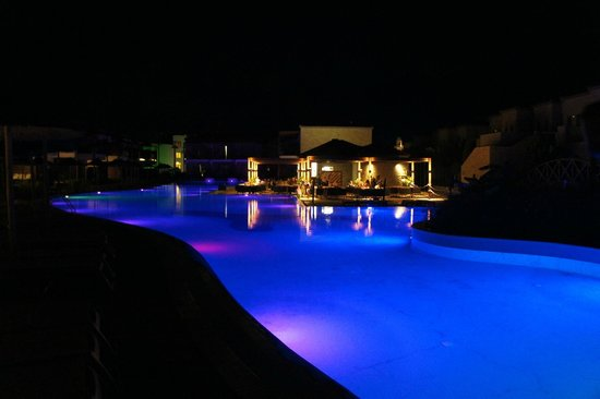 Holiday Village Rhodes:                                     Kids Pool By Night