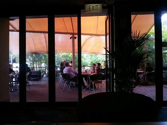 Ashmore Tavern :                   Inside, looking out at the terrace