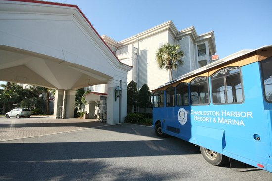 Charleston Harbor Resort & Marina:                   Front entrance and trolley
