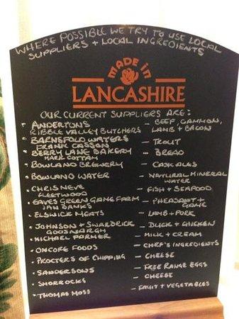 Ye Horns Inn:                                     local suppliers