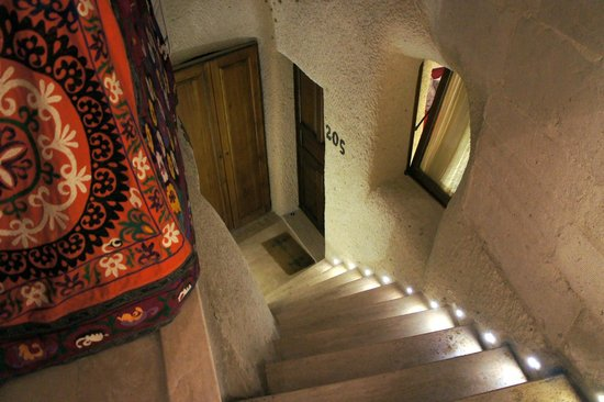 Cappadocia Cave Suites:                   Looking down at the entrance to our suite inside the caves.