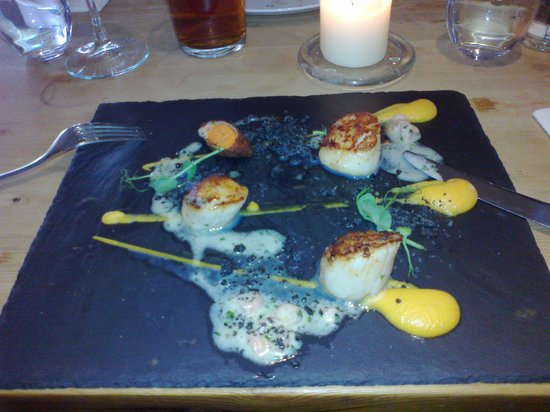THE TREBY ARMS:                   My starter - scallops with a BIG difference. Available at lunch on 12th March