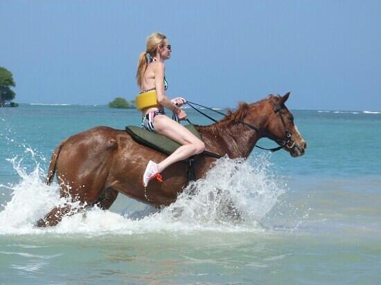 My Wife Galloping Across Cukka Cove Ocho Rios Jamaica