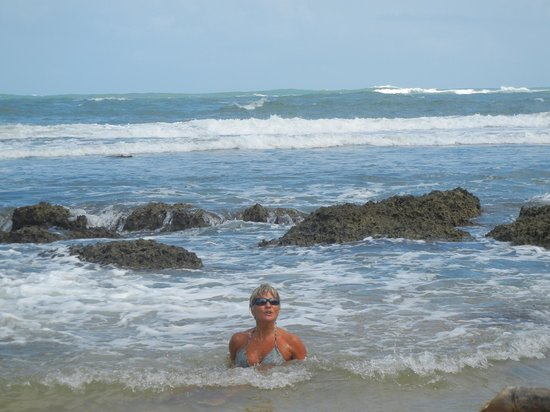 Playa Bluff Lodge:                   swimming in the surf