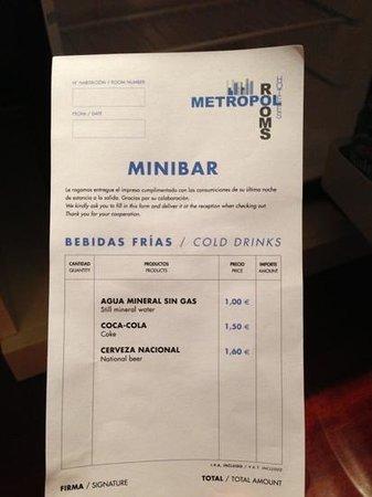Hotel Puerta de Alcala:                   Precios minibar