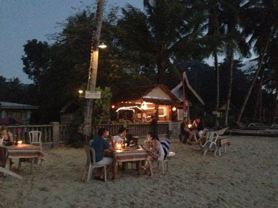 Port Barton, Philippines:                   dining on the beach