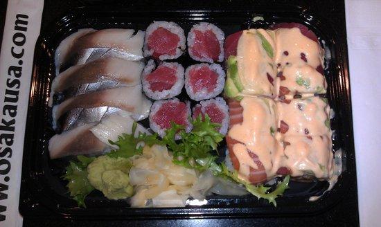 Osaka Japanese Steakhouse & Sushi:                   Take out sushi as presented upon opening.