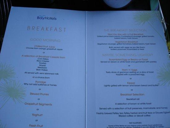 Bay Marine Hotel: breakfast menu.