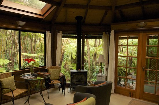 Volcano Rainforest Retreat :                                     There is an gaz fireplace, you'll need it for cold evenings