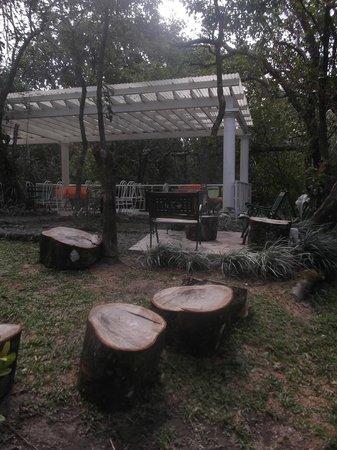 El Valle Gourmet&Coffee Shop: Terrasse extérieure avec bancs rustiques.