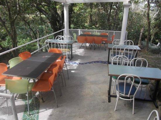 El Valle Gourmet&Coffee Shop: Terrasse extérieure arrière.