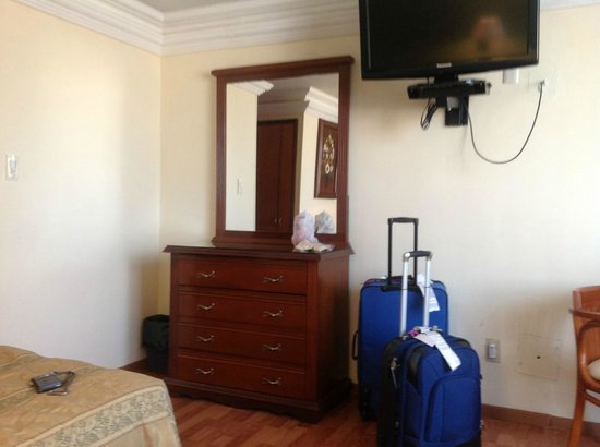 Hotel Gilfer: NIce flat screen TV. Besides this mirror and bureau, there is a roomy closet and dressing mirror