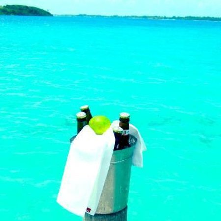 Sofitel Bora Bora Private Island:                   Bucket of beer on our back porch. I feel like I'm in a Corona commercial.