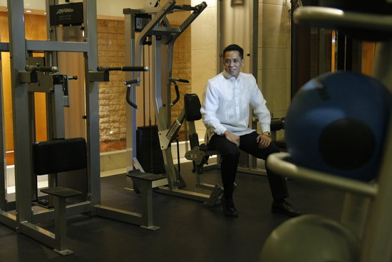New World Manila Bay Hotel:                   husband at the gym