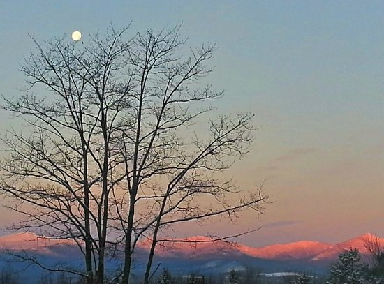 Winter Sunrise with full moon setting - Stowe Meadows Lodge