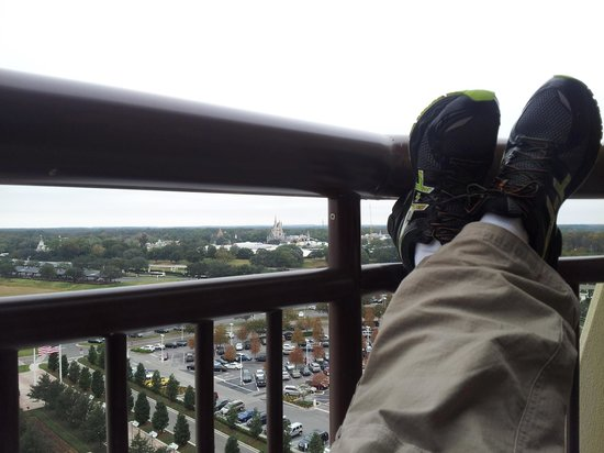 Disney's Contemporary Resort:                   Kicking back on my balcony at the Contemporary looking at the Magic Kingdom.
