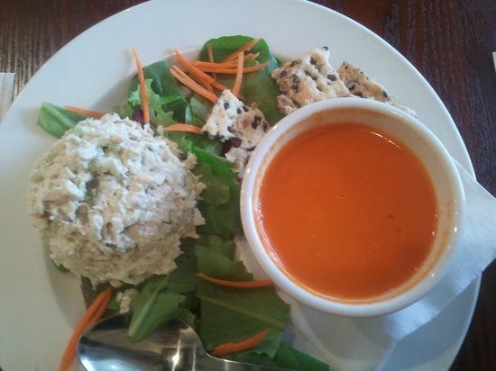 Oxford, NC:                   Chicken Salad on greens and Red Pepper Soup for Lunch - One of my favorites!