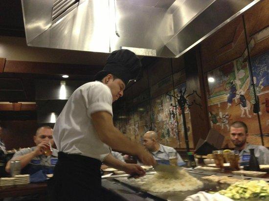 Sakura Japanese Steakhouse:                                     Chef serving