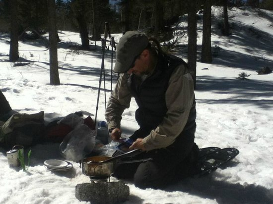 Taos Snowshoe Adventures :                                     Stuart made us a great, hot lunch at the top of the mountain