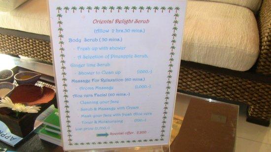 Raintree Spa:                                     special promotions menu