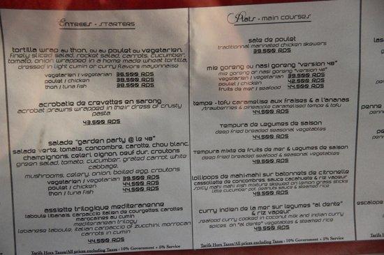 Le 48, Zen & Happy Rezort:                   menu du restaurant