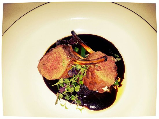 Eucalypt Restaurant:                   Saltbush lamb with persian feta on chocolate balsamic