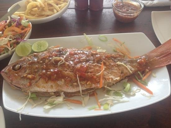 Frangipani Beach Villa Restaurant:                   grilled fish for two persons