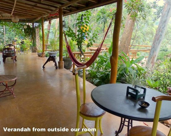 Waterfalls Homestay:                   Verandah & deck immediately outside Verandah Room