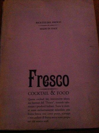 Fresco Cocktail Shop:                                                       Menu