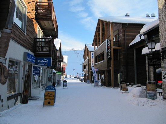 Levi Log Cabins:                   The shops at the bottom of the front piste slopes