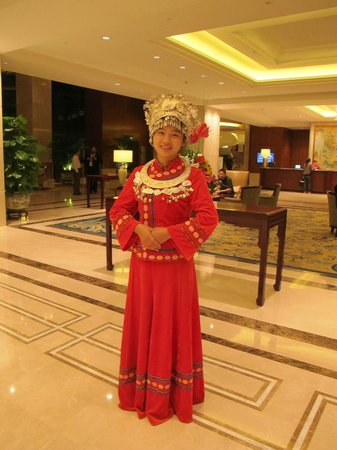 Shangri-La Hotel Guilin:                   A lovely traditional minority welcome and gift