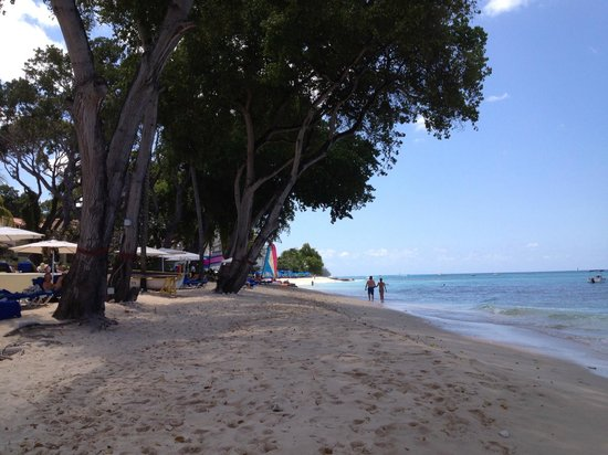 Tamarind by Elegant Hotels:                   Beach to left (the trees are in front of hotel)