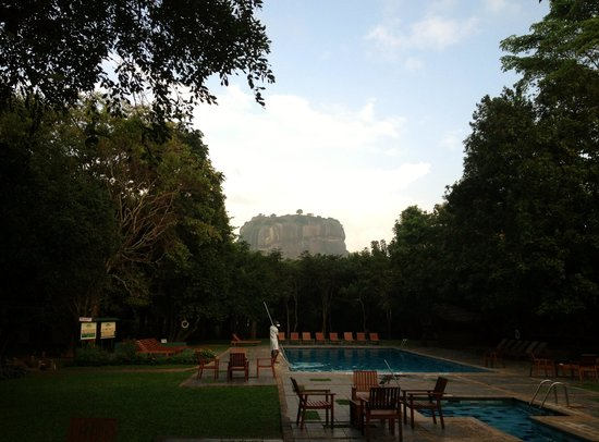 Hotel Sigiriya:                   View on Lion's Rock from Hotel