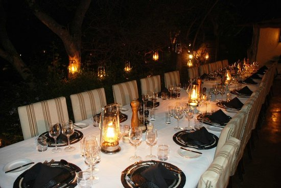 Savanna Private Game Reserve:                   Dinner table