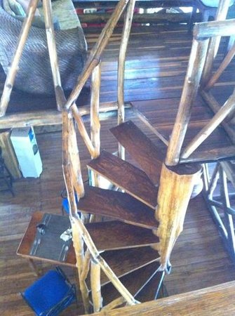 Conchal Hotel:                   spiral staircase raising aprox. 15 ft above restaurant