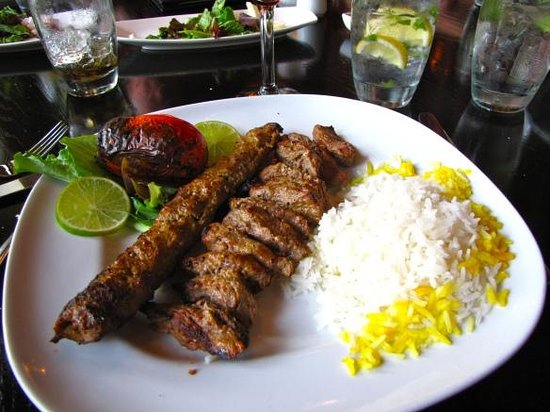 Pomegranate on Main:                   chinjeh soltani- koobideh kabob & chinjeh kabob with basmati rice