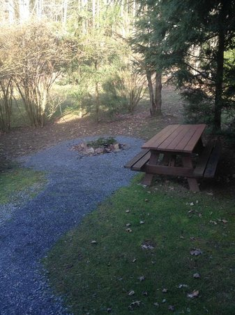 Mill Creek Cabins:                   Fire pit area just outside the front door.