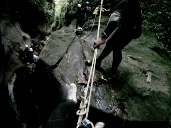 Extreme Dominica Canyoning:                   Repelling down