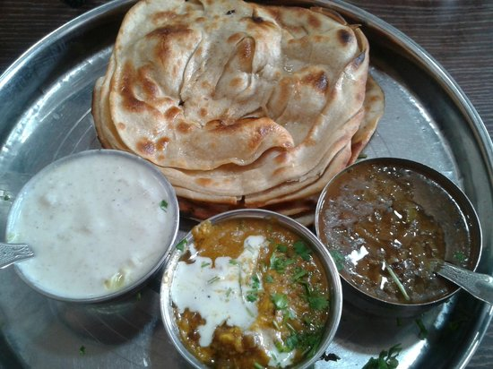 Bade Bhai Ka Brothers Dhaba:                   Special mini parantha thali... 2 Lachhear paranthe, maa ki dal, paneer and rai
