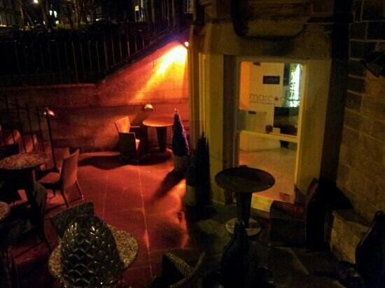 Caffe Marconi:                   front entrance and al fresco seating