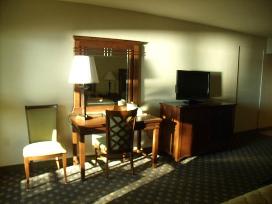 Lakepoint State Park Resort Lodge and Convention Center:                                     desk, tv, (refrigerator is in entertailment center)