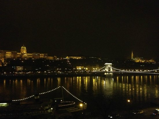 InterContinental Budapest:                   Night view of the Danube from my hotel room window.