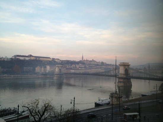 InterContinental Budapest:                   Chain Bridge from my hotel room window by morning light.