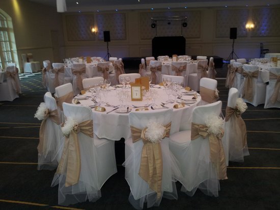 Bannatyne Spa Hotel:                                     Table for 10 guests with beautiful bespoke chair covers.