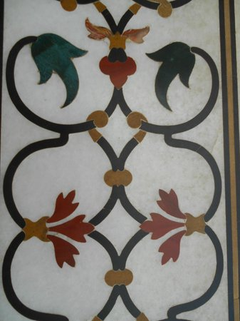 Taj Mahal:                   precious stone inlay on marble