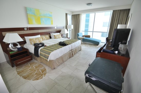 JA Oasis Beach Tower:                   Bedroom with a view to sea and Palm
