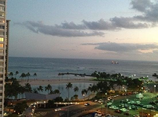 The Modern Honolulu:                   sun setting over the beach